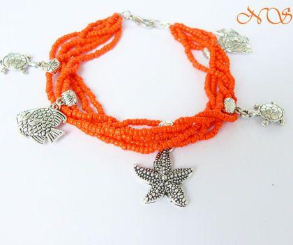 """Браслет """"Коралловый риф"""" - бисер,рыжий,рыбки,браслет,черепашка,море,морская тема"""