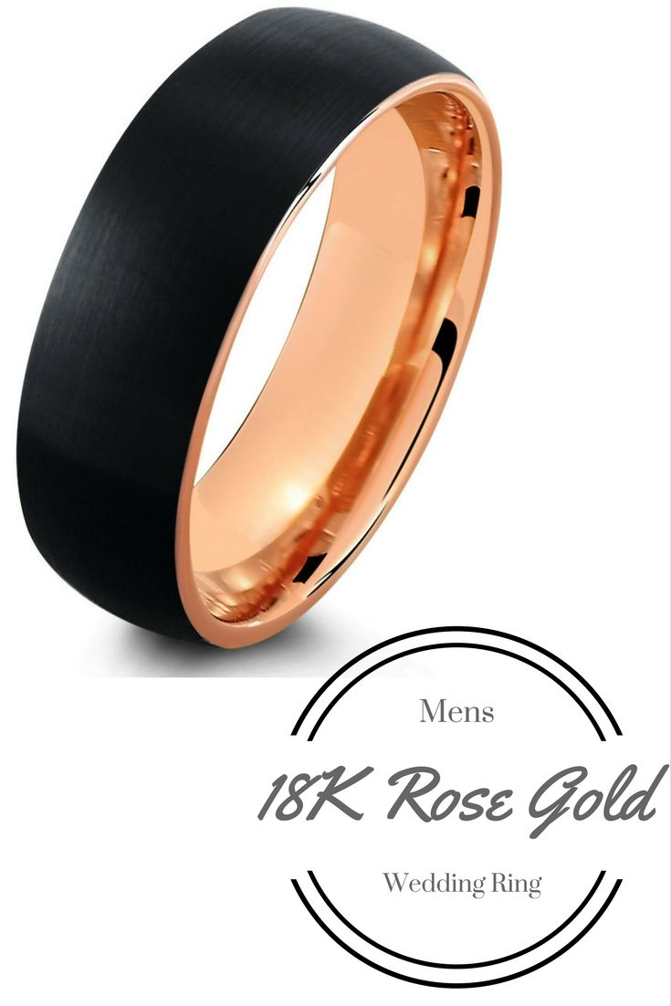 Black brushed tungsten ring with rose gold interior in mens