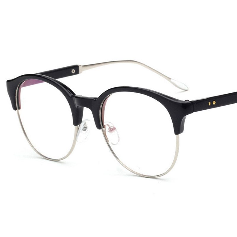 58b212b3f0e 2017 New PC + Metal Round Half frame Eyeglasses Frames Women Eyewear Frame  Men myopia Eye