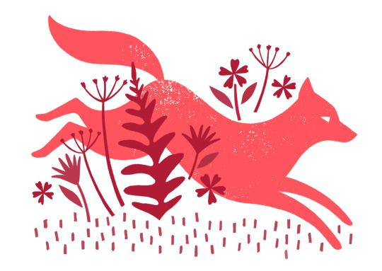 Lucy Davey Illustration, printmaking, nature, fox, jumping, animal, lino, plants, fauna
