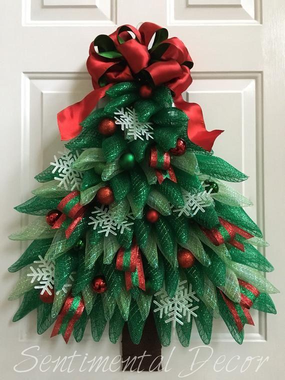 Corona del árbol de Navidad, en venta! Listo ahora, corona de Navidad, corona de invierno, corona de malla deco, corona de puerta delantera festiva