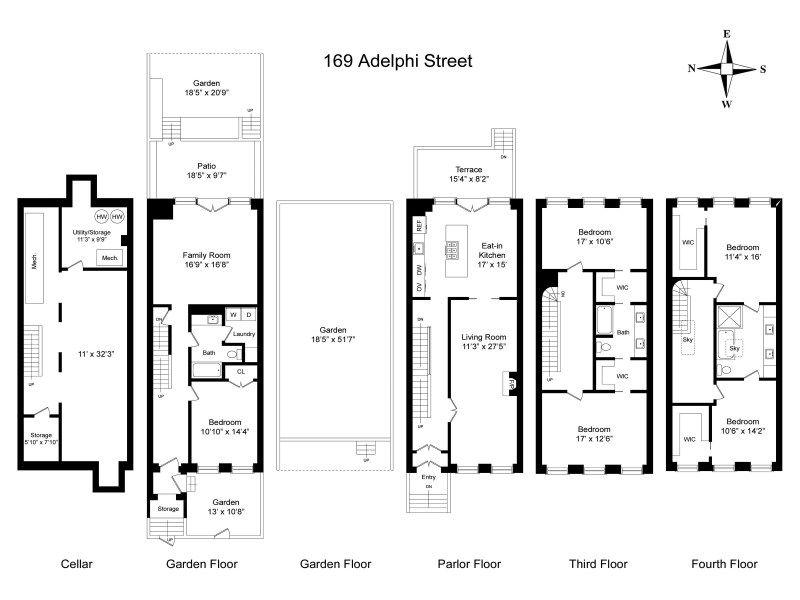 Floorplan brownstone floorplans pinterest interior for Brownstone house plans