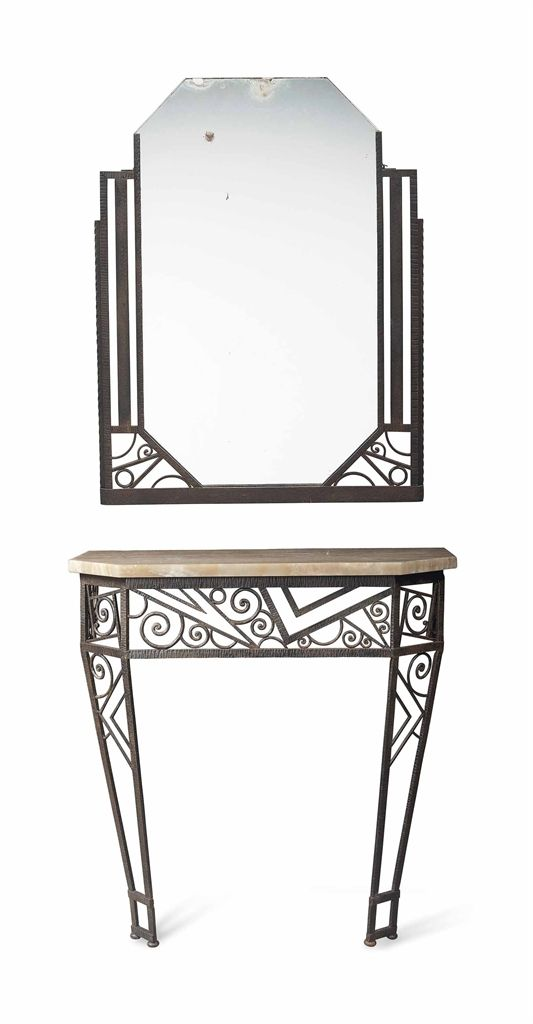 A french art deco wrought iron console table and mirror for Wrought iron sofa table legs