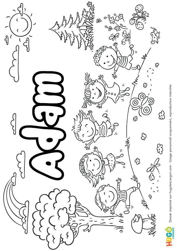 Coloriage De Paques Avec Prenom.Coloriage Et Illustration Du Prenom Adam Le Prenom Est Ecrit Dans