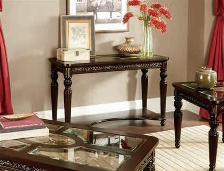 Russian Hill Traditional Cherry Wood Glass Sofa Table Console