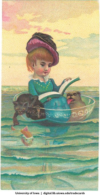 Reading on the ocean,  1880's trade card