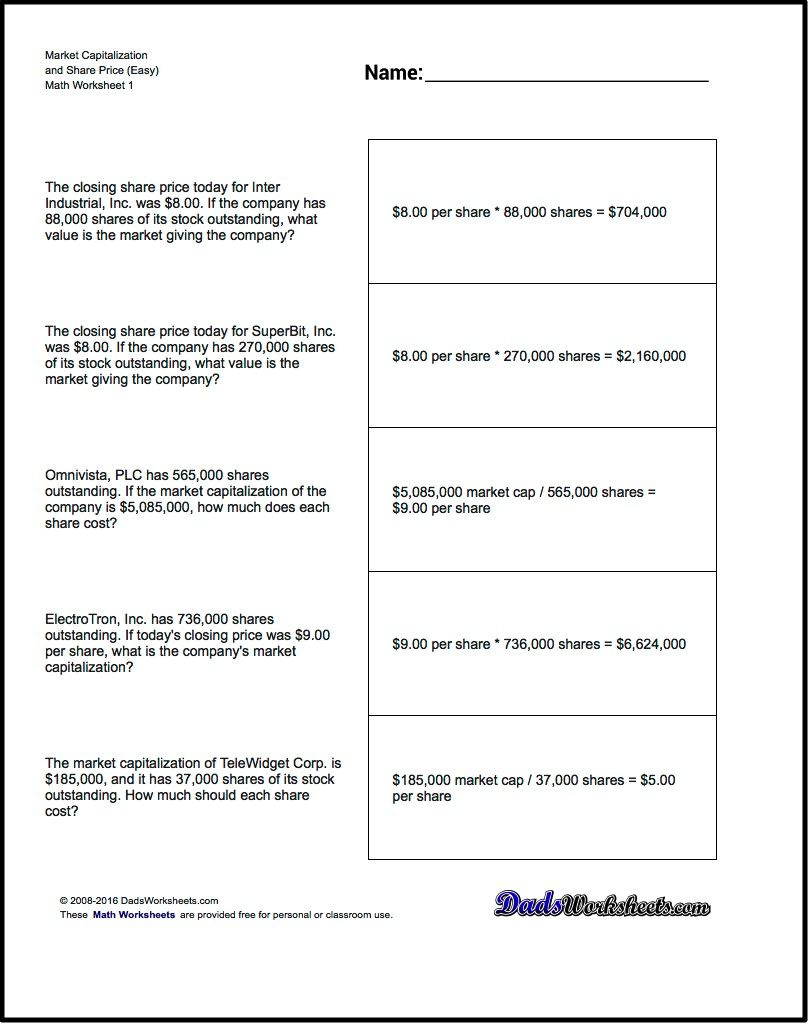 math worksheet : investing market capitalization problems to calculate market  : Free Market Math Worksheets