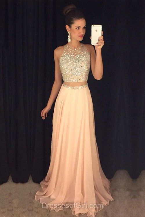 362cfc7a71a Two Piece Prom Dresses, Aline Prom Dress, Beaded Evening Gowns, Pink Party  Dresses, Chiffon Formal Dresses