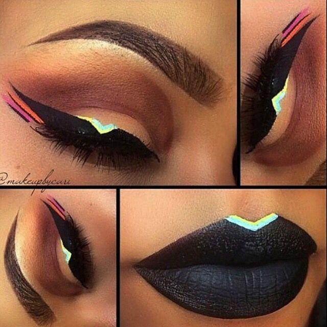 Black and neon makeup look Makeup Pinterest Maquillaje, Ojos