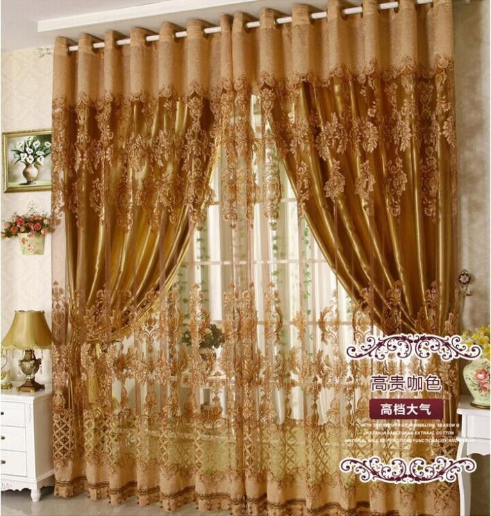 Free Shipping European Style Fashion Fancy Design Tulle Curtain With Blackout Shade Curtains For Living Room