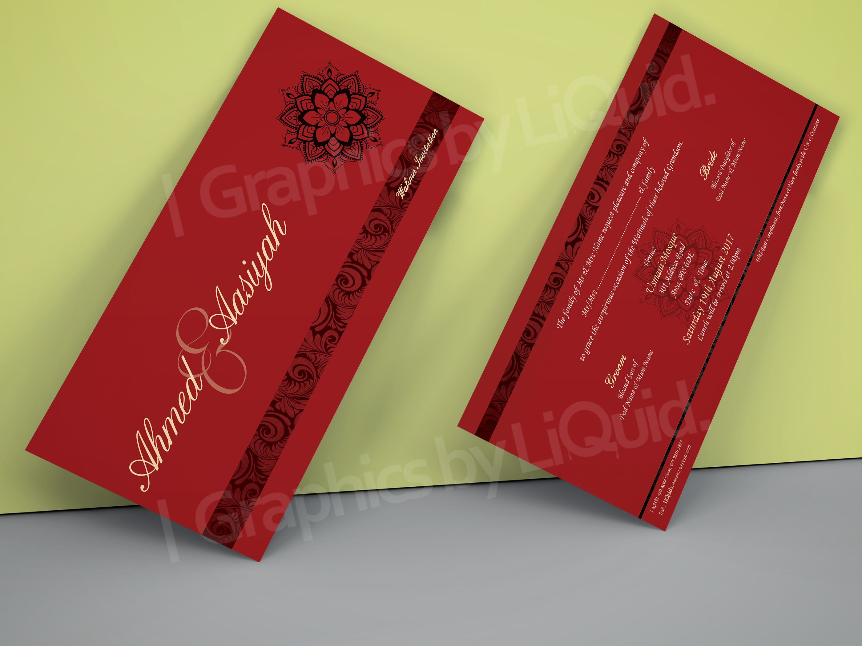 Red & Black Double Sided Wedding Invitation Card QDL18 | Wedding ...