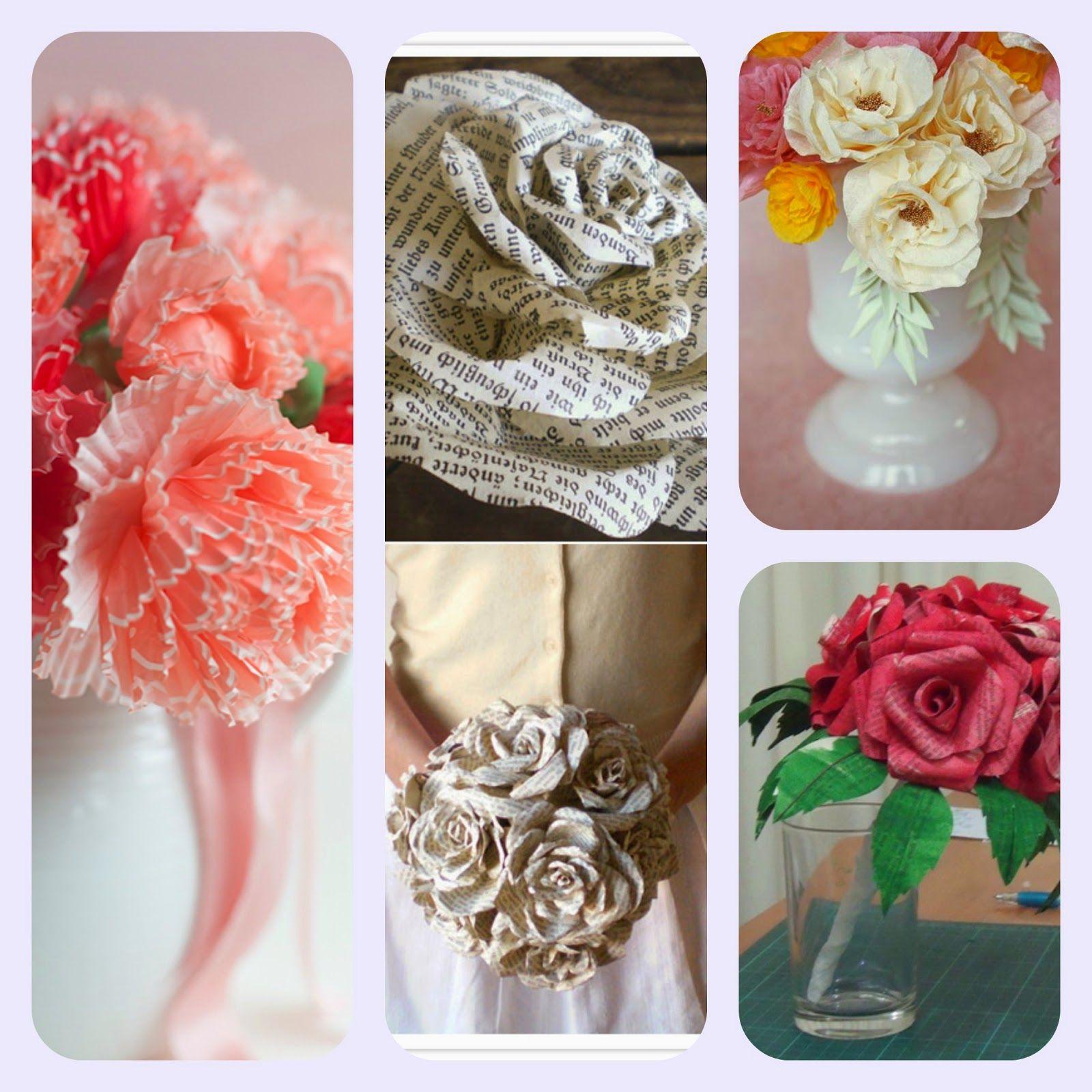 donneinpink: Imperdibili tutorial. Bouquet con fiori di carta