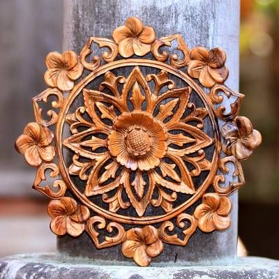 Wood Relief Panel Lotus And Plumeria In 2021 Hand Carved Wood Carved Wall Art Carved Wood Wall Art