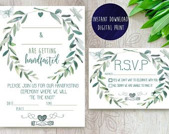Beautiful Botanic Green And White Handfasting Invitations For Celtic Humanist Pagan Weddings
