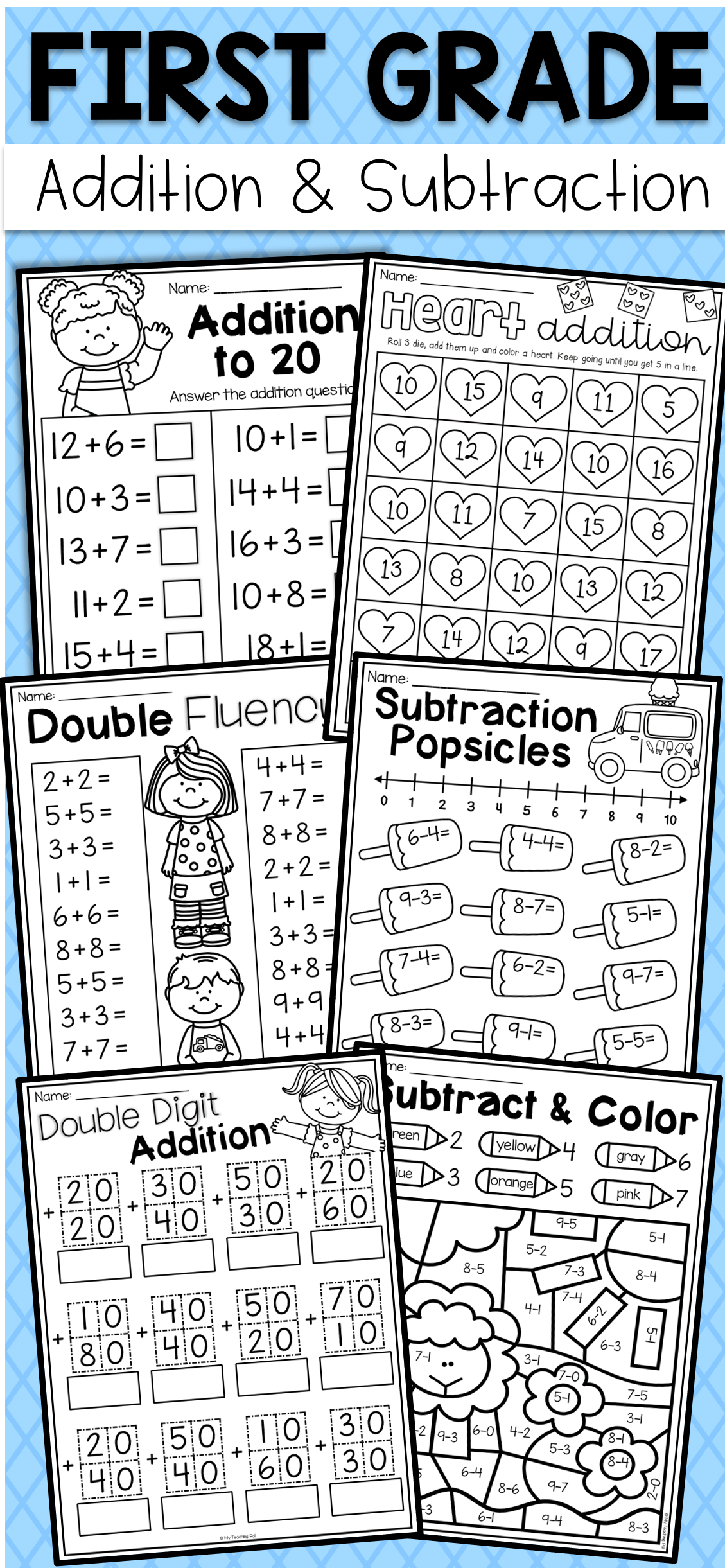 First Grade Addition And Subtraction Worksheets
