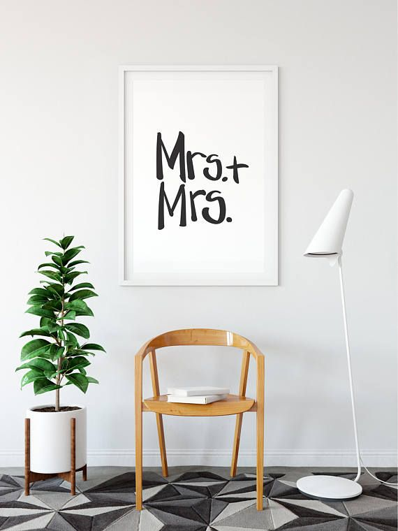 Mrs and digital print modern calligraphy gay wedding  hand lettered wall art home decor pride anniversary prints also rh pinterest