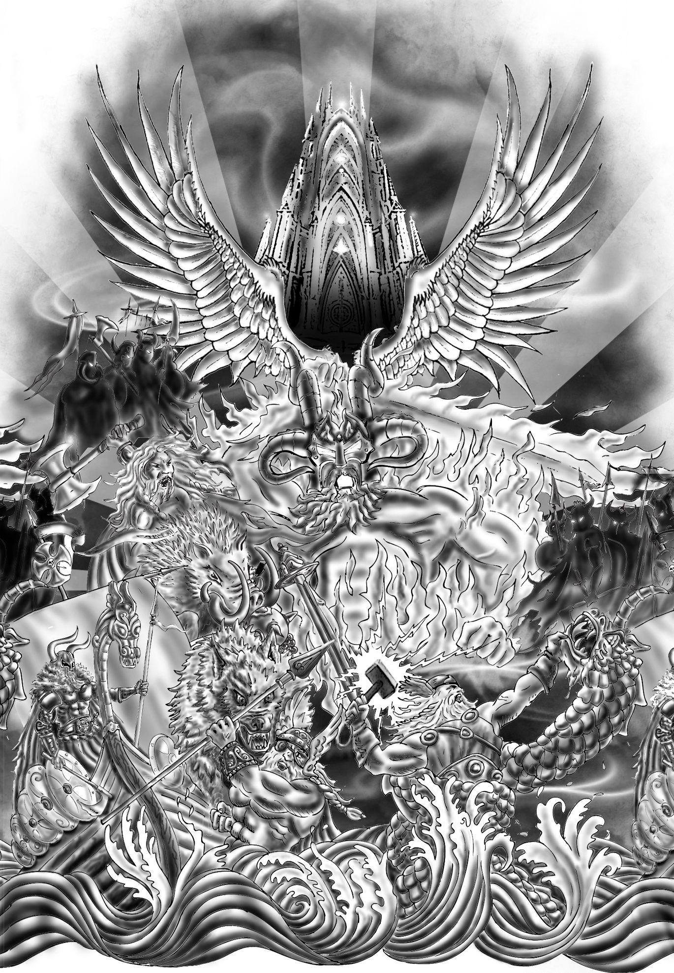 Ragnarok Custom Tattoo Design By Lucius In Fabula Norse Tattoo Custom Tattoo Design Viking Tattoos