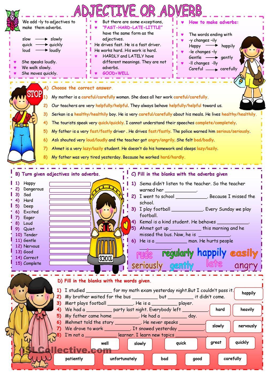Adjective or Adverb Educacion ingles, Como aprender