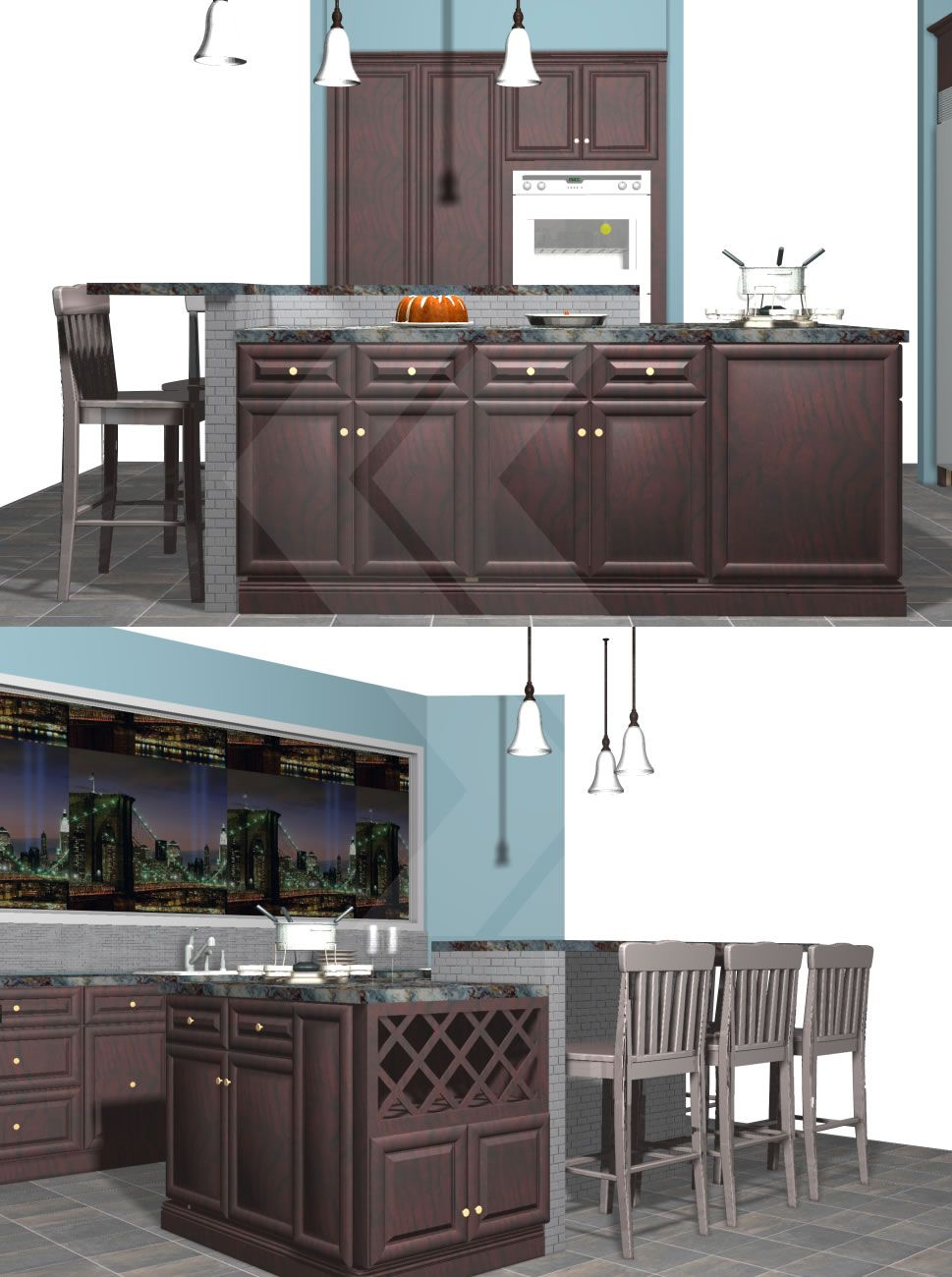 Create A Unique Island, Using Base Cabinets, Wall Cabinets, And A Bar Height  Knee Wall. This Island Offers Plenty Of Storage, A Serving Area, ...