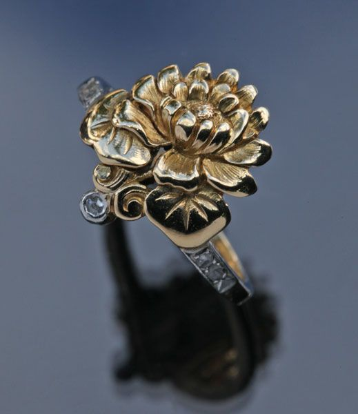 This is not contemporary - image from a gallery of vintage and/or antique objects. ART NOUVEAU  Floral Ring  Gold Diamond