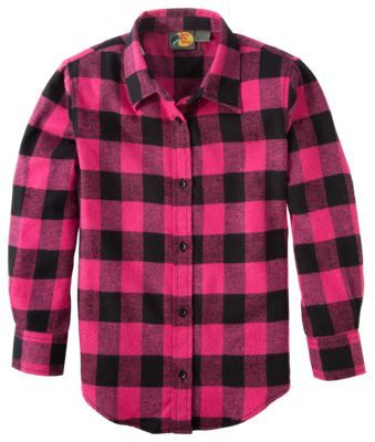 c04511e28 Bass Pro Shops Plaid Flannel Shirt for Girls - Hot Pink Buffalo Check - XL