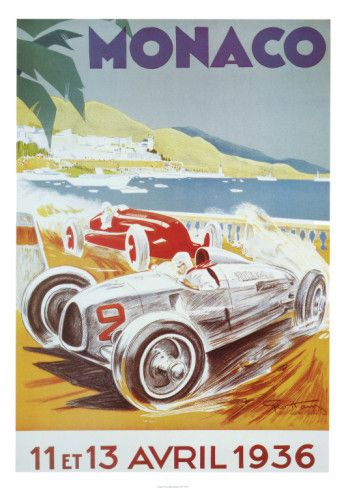 8th Grand Prix Automobile, Monaco, 1936 Posters by Geo Ham at AllPosters.com