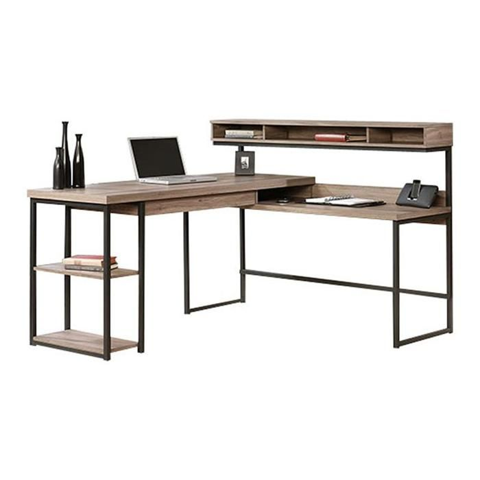 L Shaped Desk In Salt Oak Nebraska Furniture Mart Home