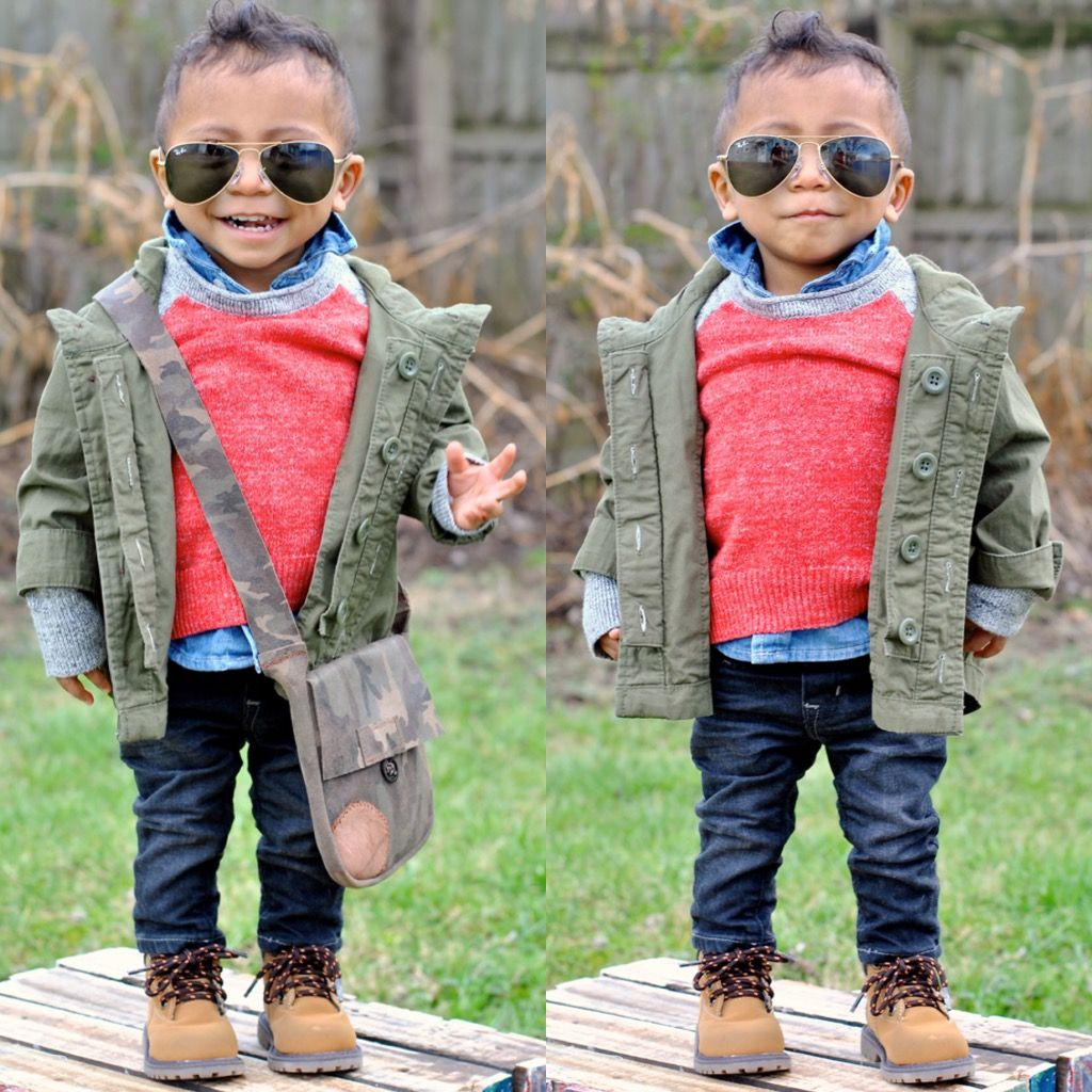 Check out more @beckettoakes #ootd inspiration on Instagram! Baby fashion. Sunglasses - RayBan Jr.  Army green parka, gray and red sweater, chambray button up and black skinny jeans by baby Gap.