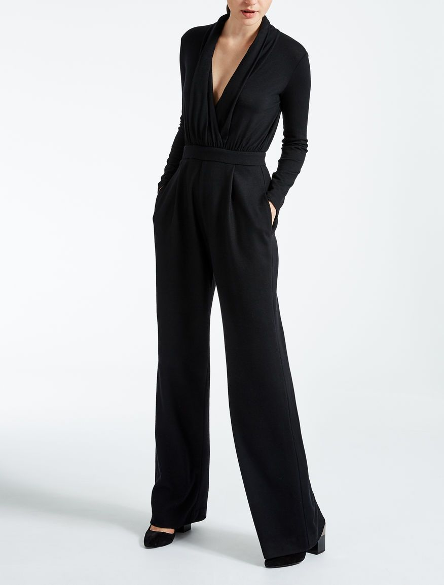 bc67099579c Max Mara ARLEY black  Wool jersey jumpsuit.