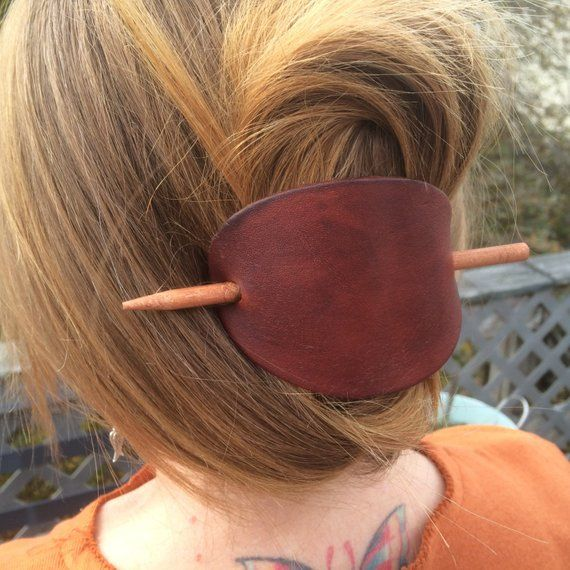 Womens leather hair slide, Leather hair accessory for woman with long hair
