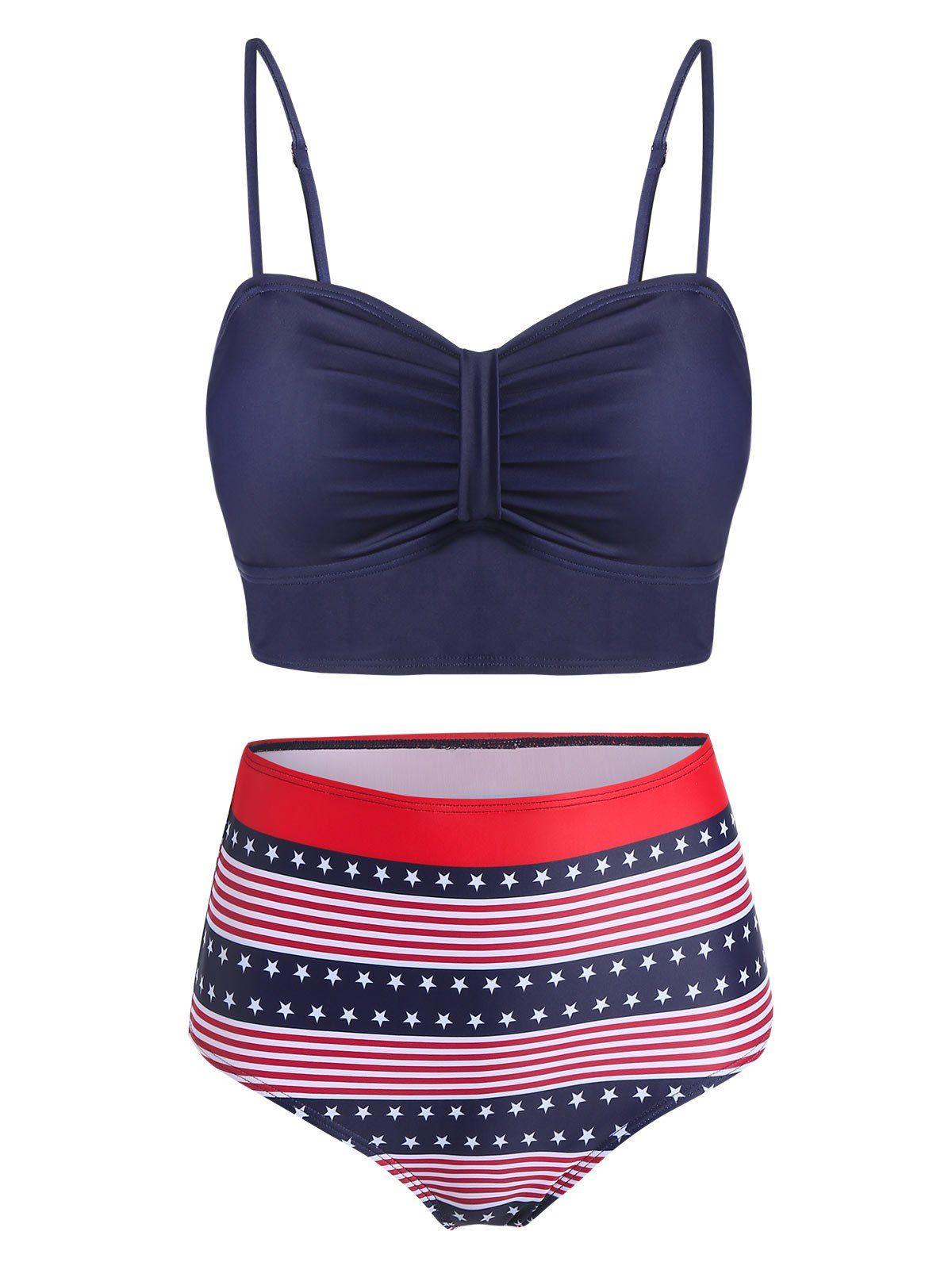 Ruched American Flag Print Padded Bikini Swimsuit in 2020