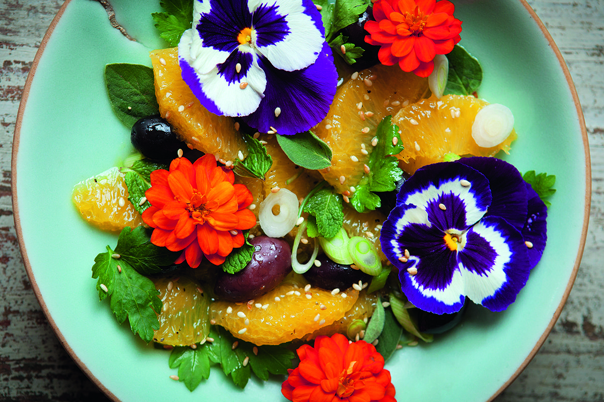 Orange, Herb and Edible Flower Salad (With images