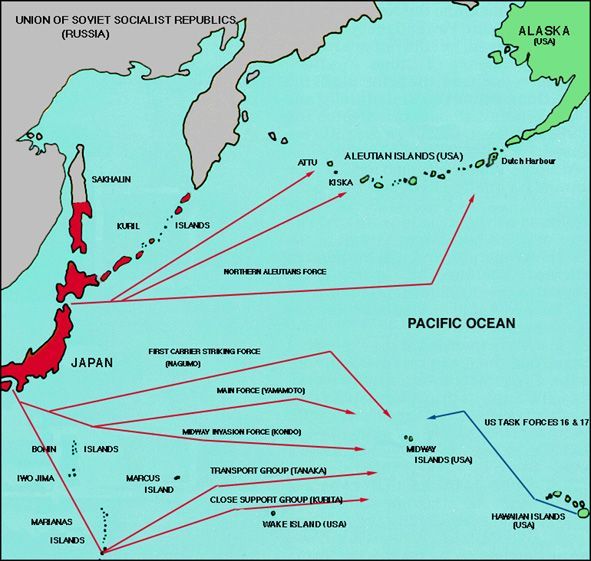 A Map Of The Japanese Fleets Position Compared To The American - Japan map 1942