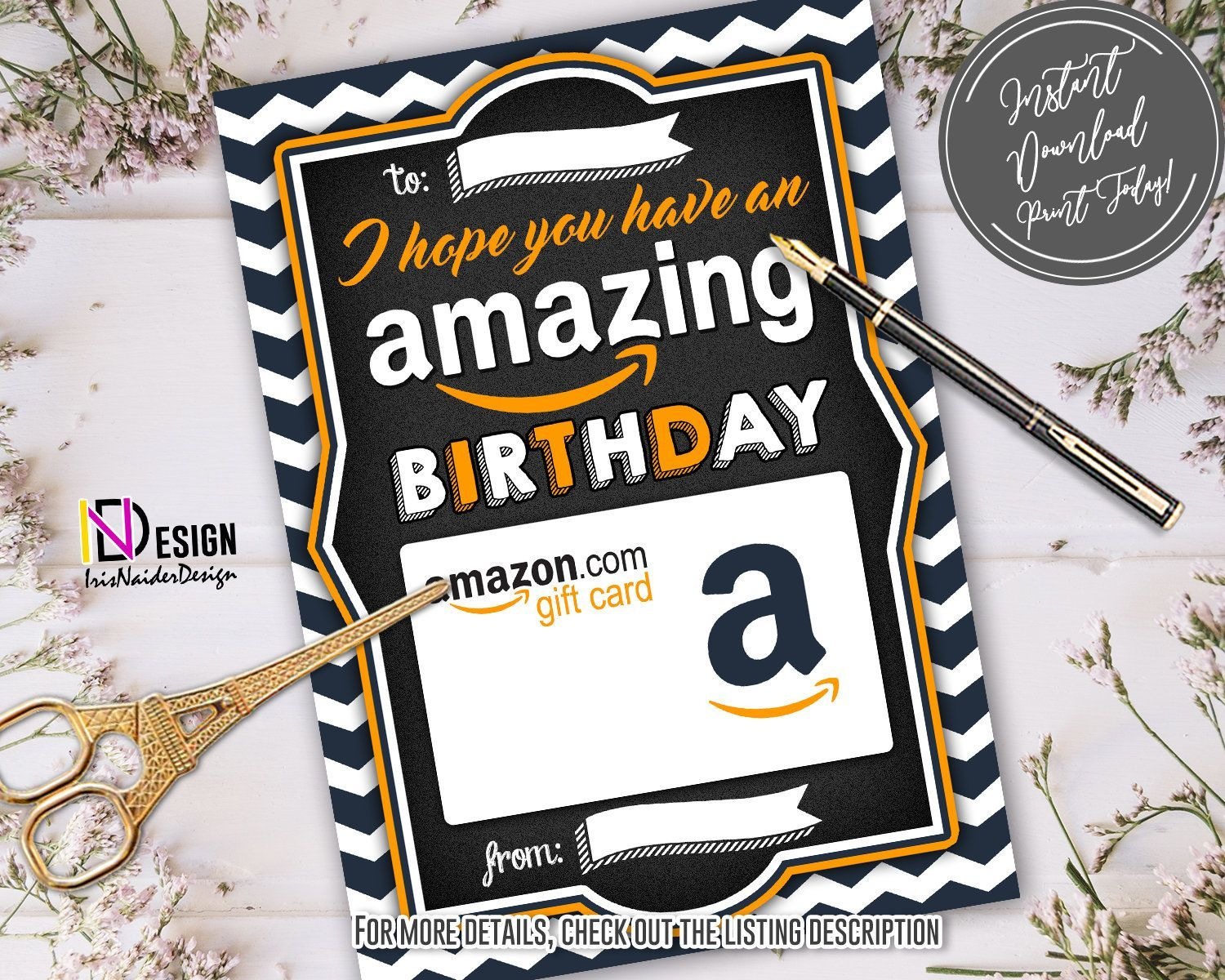 Amazon Com Print At Home Gift Card In 2021 Gift Card Holder Thank You Teacher Gifts Thank You Gifts