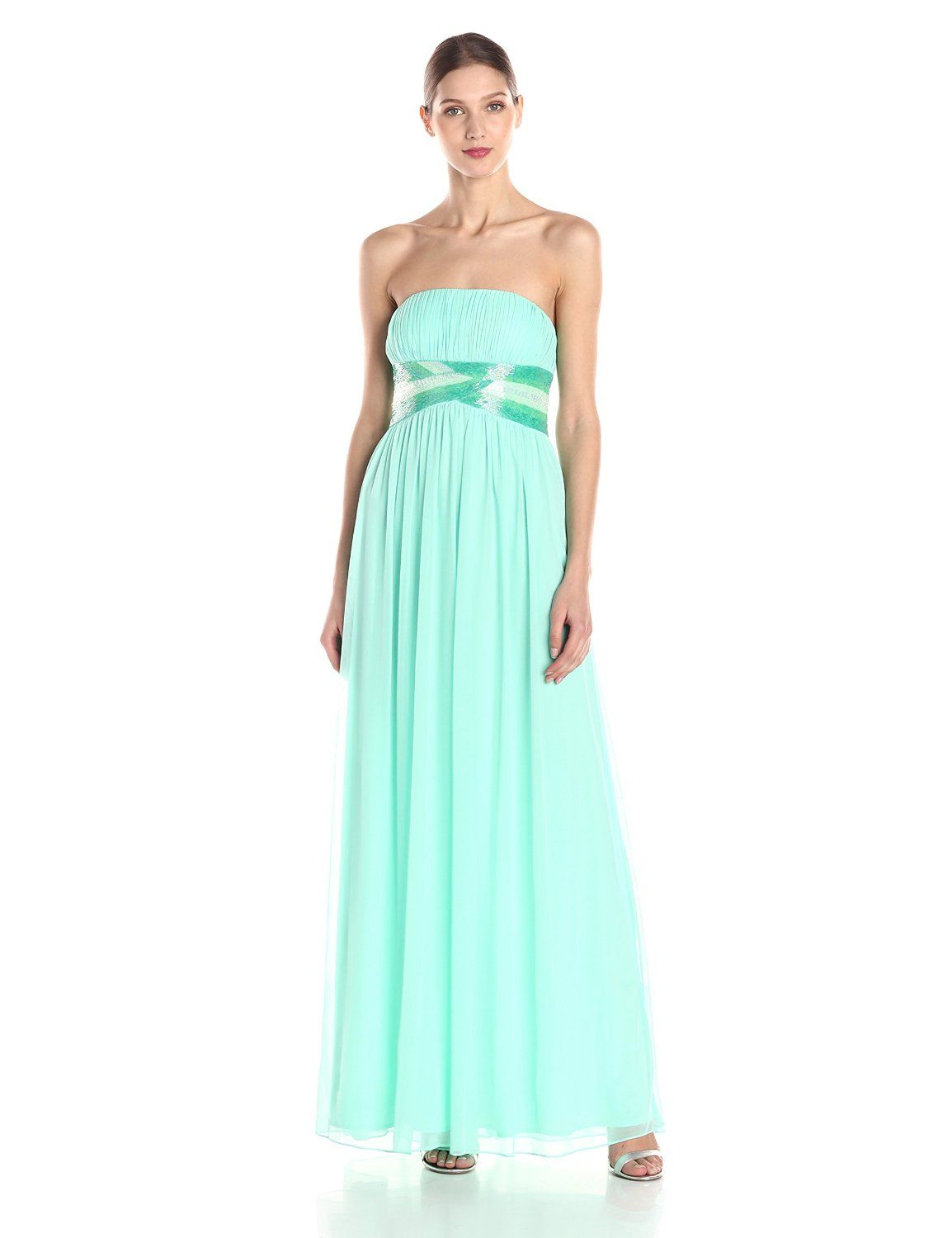 Pleated Strapless Gown with Ombre Beads by JS Boutique | Gowns ...