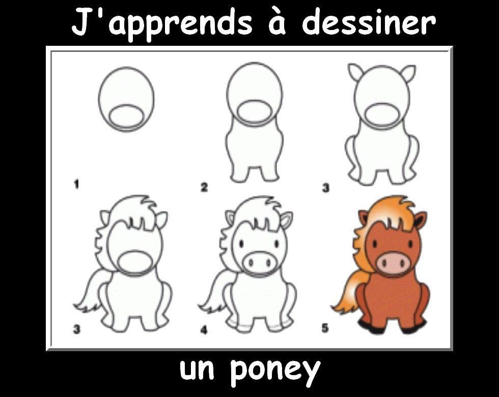 Des fiches j 39 apprends dessiner les animaux en 2019 activit enfant petit dessin dessin - Comment dessiner un poney ...