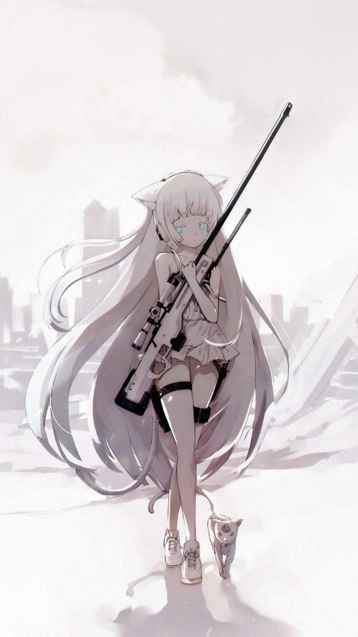 720x1280 wallpaper sniper awp girls frontline white - Anime sniper girl ...