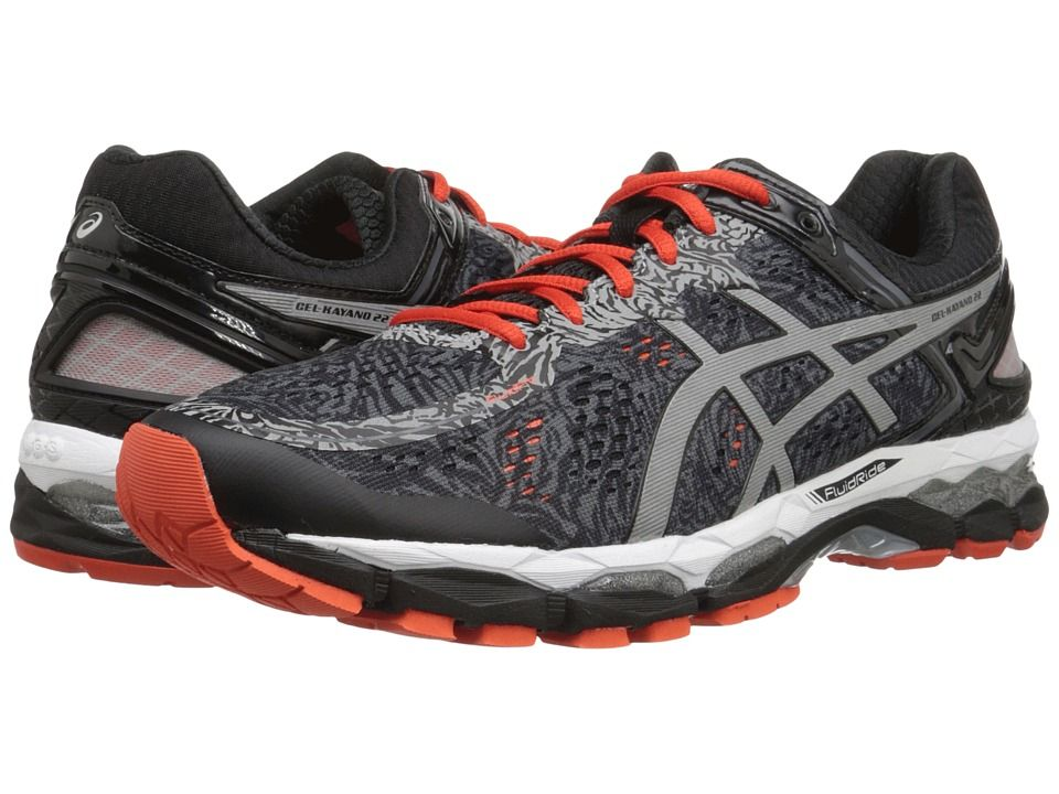 Asics GelKayano 22 LiteShow  CarbonSilverCherry Tomato  Mens Sport Shoes