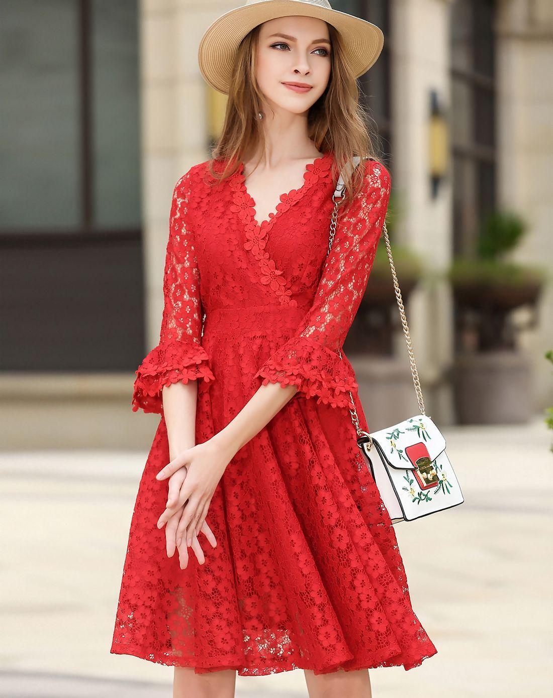 Adorewe vipme aline dressesdesigner fwaysby red lace v neck