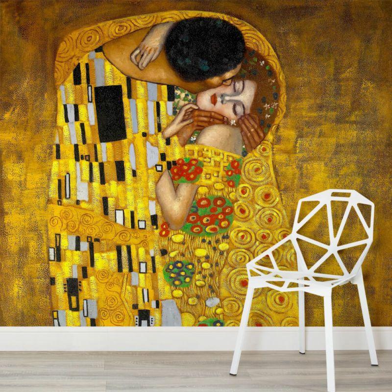 gustav-klimt-kiss-wall-mural-art-square-1-wall-murals | Add Art ...