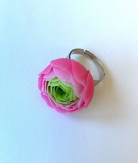 Handmade Ring With Pink Ranunculus Pink Ranunculus Ring Pink Flower Jewelry Clay Flower Ring Floral Ring Porcelain Flowers Clay Jewelry Pink Flower Jewelry Flower Jewellery Floral Jewellery