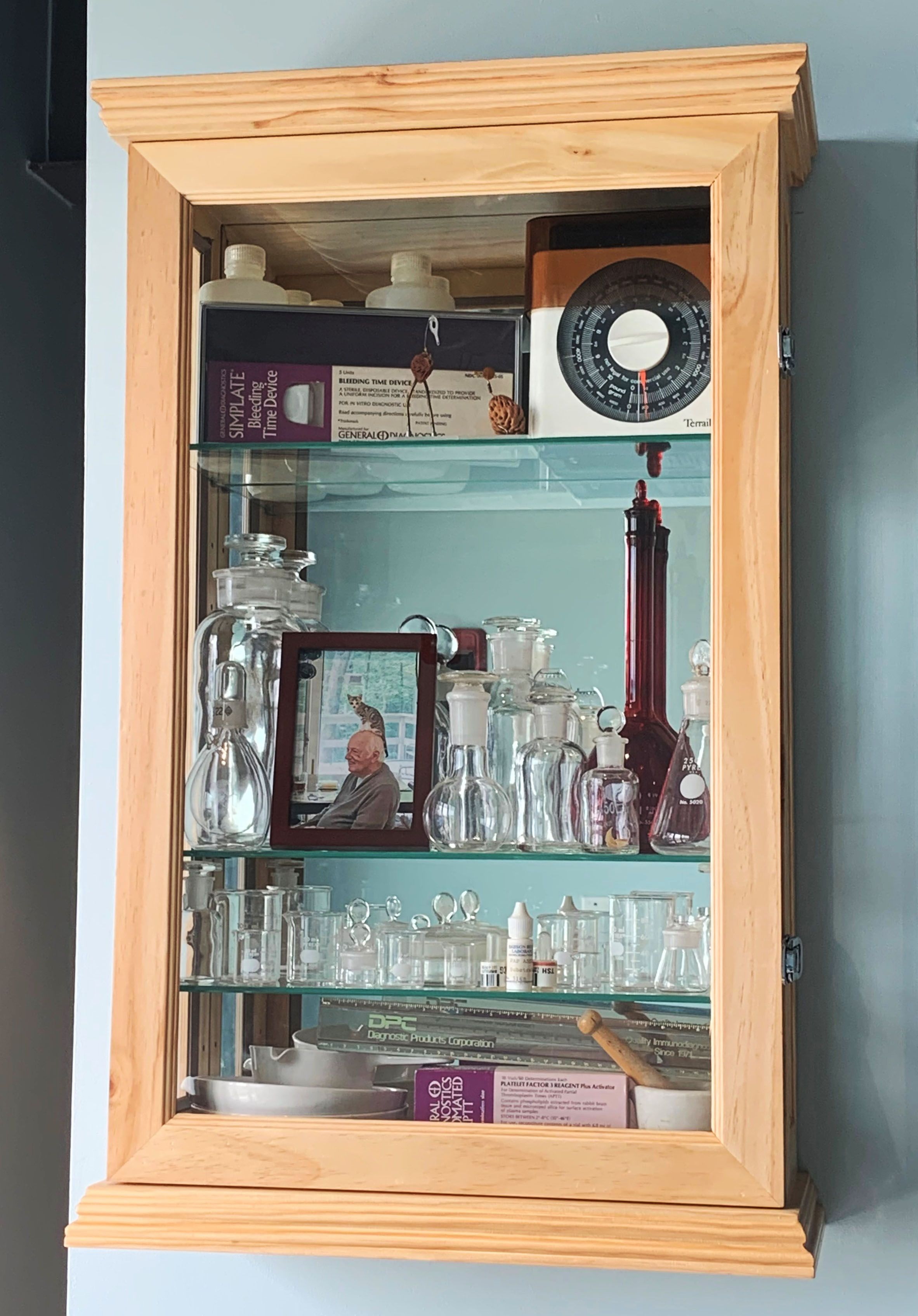 Wall Or Counter Curio Cabinet W Mirror Back Adjustable Shelves Locking Light Oak Adjustable Shelving Installing Cabinets Curio Cabinet