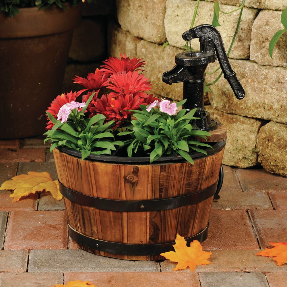 Old Tyme Small Whiskey Barrel Fountain Planter #smartpond #whiske ...