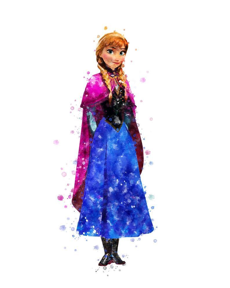 Anna print frozen watercolor disney princess anna