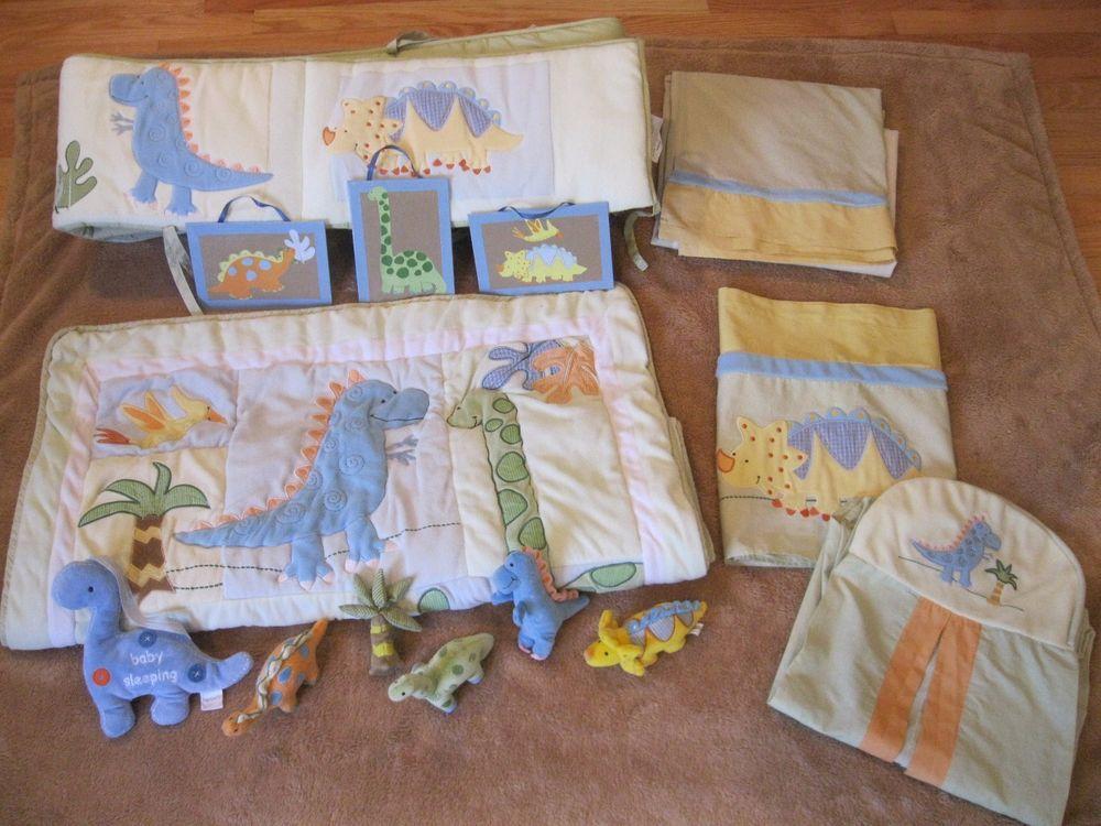 Lambs & Ivy Crib Bedding Reversible Dinosaurs Comforter Skirt Bumper Diaper Bag #LambsIvy