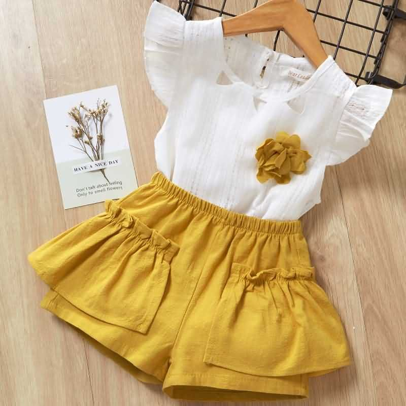 Button Tutu Skirts Clothing Set Newborn Infant Baby Girls Sunflower Outifts Short Sleeve T-Shirt Tops