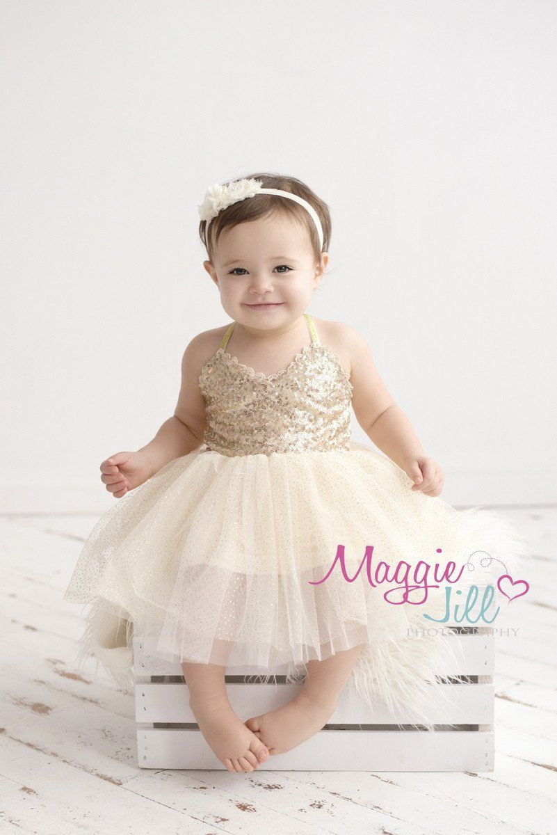 Couture Gold Sequin Glitter Dress Dohl Baby girl