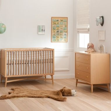 Dwellstudio 2 Piece Nursery Set Mid Century Crib And Dresser In Natural Free Shipping Cribs Baby Bed Natural Crib