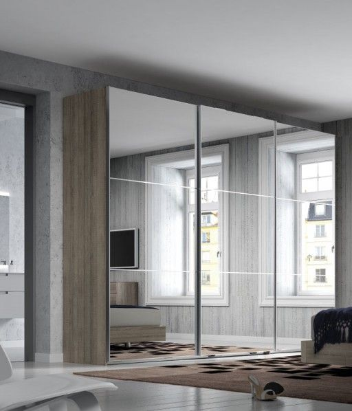 Armario nuit con espejo los espejos ampl an visualmente for Armarios altos para dormitorio