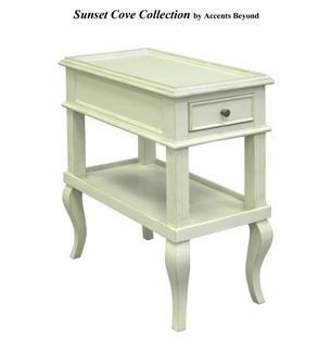 End Table With One Drawer And Lower Shelf 12 X 22 X 24 H Shown In Finish Ivory Available Finishes Ivory Moccasin Red Bay Furniture Low Shelves